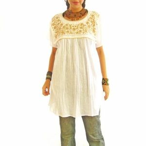 Mexican Blouse Embroidered Old Gold
